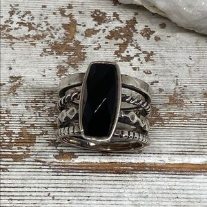 Jewelry - Oxidized Sterling Silver Faceted Onyx Ring